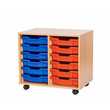 sale - Just For Education - 12 Tray Mobile Unit With 2 Rows Of Trays