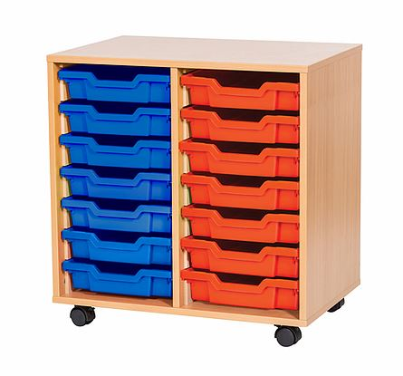 sale - Just For Education - 14 Tray Mobile Unit With 2 Rows Of Trays