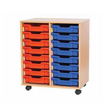 sale - Just For Education - 16 Tray Mobile Unit With 2 Rows Of Trays