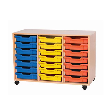 School Desking Storage and Tray Storage - Just For Education - 21 Tray Mobile Unit With 3 Rows Of Trays