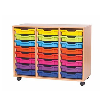 School Desking Storage and Tray Storage - Just For Education - 24 Tray Mobile Unit With 3 Rows Of Trays