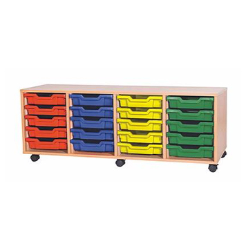 School Desking Storage and Tray Storage - Just For Education - 20 Tray Mobile Unit With 4 Rows Of Trays