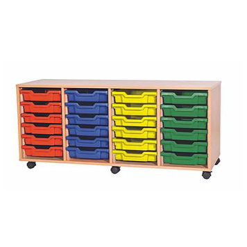 School Desking Storage and Tray Storage - Just For Education - 24 Tray Mobile Unit With 4 Rows Of Trays