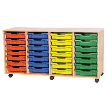 School Desking Storage and Tray Storage - Just For Education - 28 Tray Mobile Unit With 4 Rows Of Trays