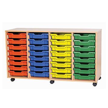 School Desking Storage and Tray Storage - Just For Education - 32 Tray Mobile Unit With 4 Rows Of Trays