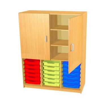 sale - Just For Education - 18 Tray Cupboard With 4  Adjustable Shelves