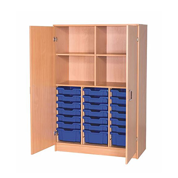 School Desking Storage and Tray Storage - Just For Education - 24 Tray Cupboard With 2 Adjustable Shelves