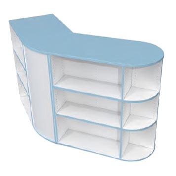 School Library Solutions - Just For Education - Peninsular Bookcase With Optional Colour Top And Matching Edge