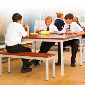 School Breakout Furniture - Just For Education - Enviro Outside Table and 2 Benches