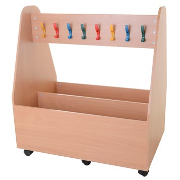 School Lockers and Cloakroom - Just For Education - Double Sided 16 Hook Cloakroom Station Mobile Trolley